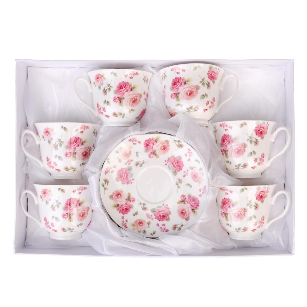 """Чайный сервиз 12 предметов, костяной фарфор, 250 мл, MILLIMI """"Роза"""""""