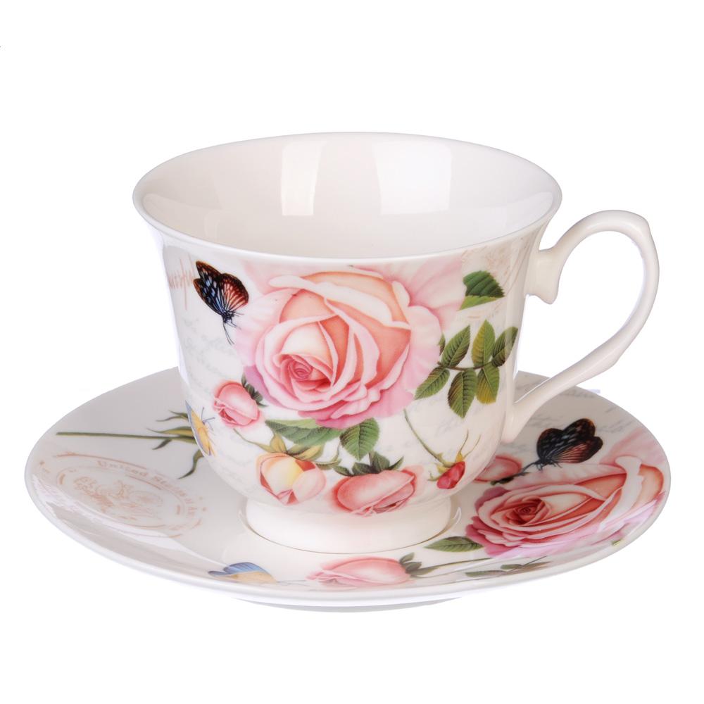 """Чайный сервиз 2 предмета, костяной фарфор, 250 мл, MILLIMI """"Чайная роза"""""""