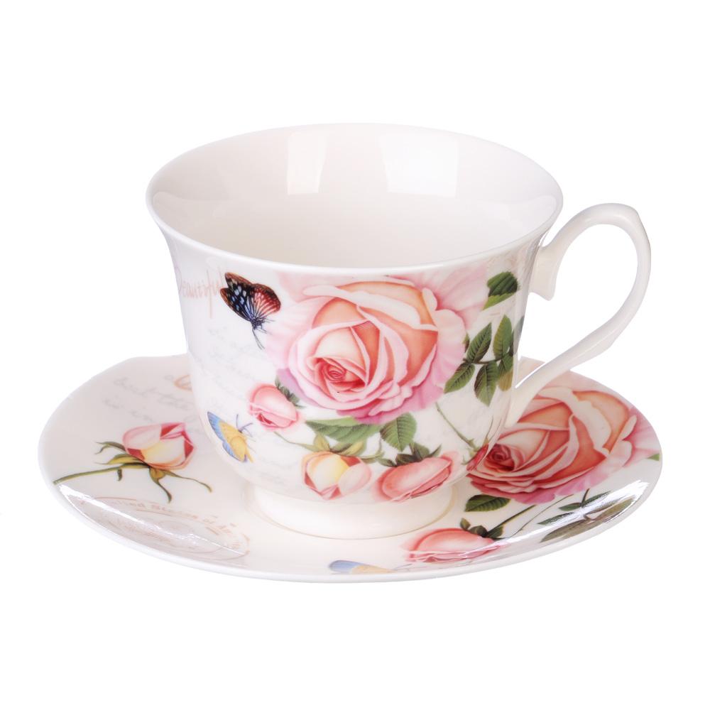 """Чайный сервиз 4 предмета, костяной фарфор, 250 мл, MILLIMI """"Чайная роза"""""""