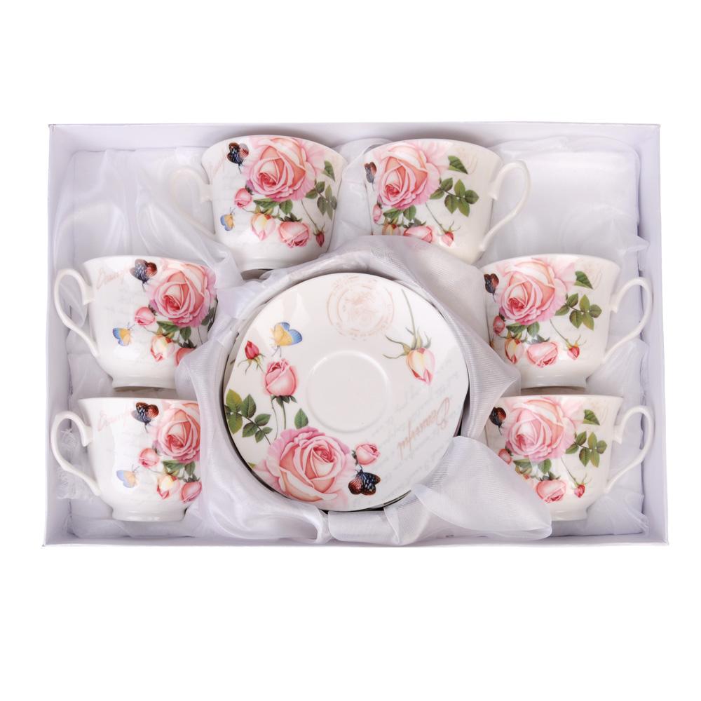 """Чайный сервиз 12 предметов, костяной фарфор, 250 мл, MILLIMI """"Чайная роза"""""""