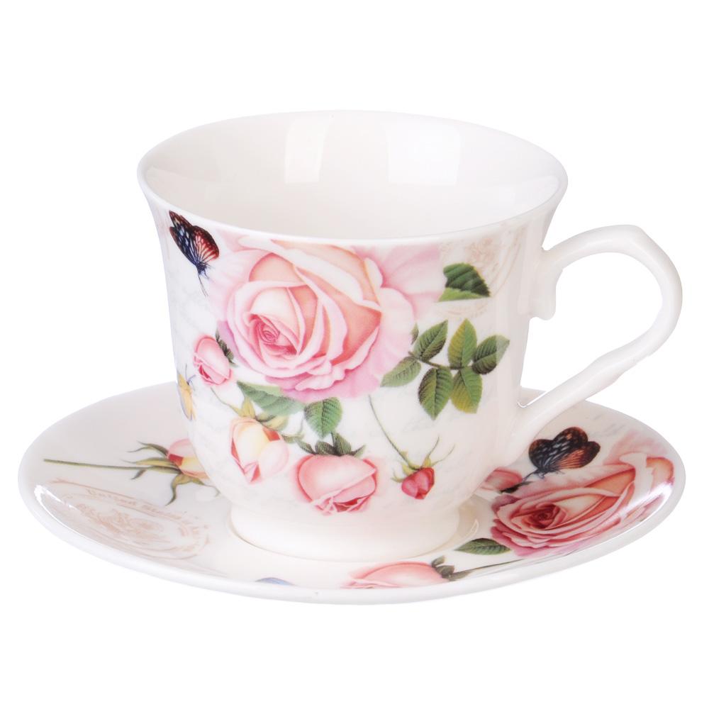 """Кофейный сервиз 4 предмета, костяной фарфор, 110 мл, MILLIMI """"Чайная роза"""""""