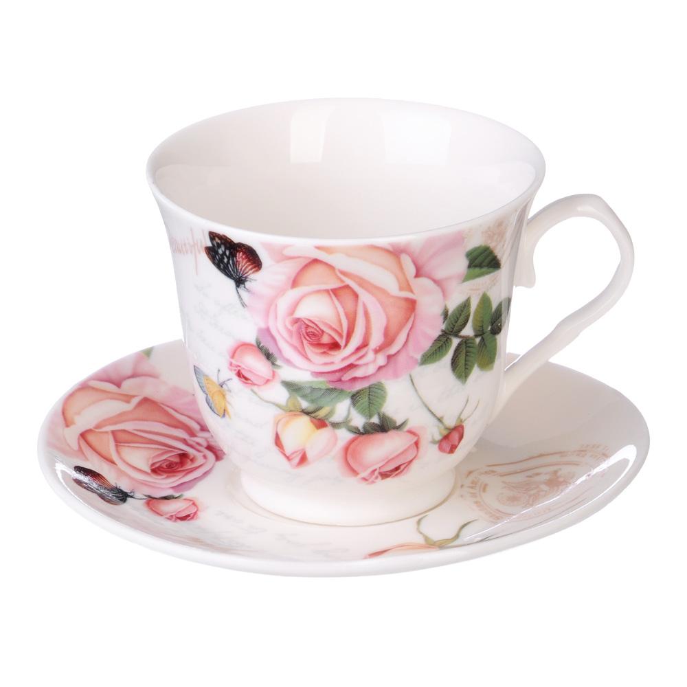 """Кофейный сервиз 12 предметов, костяной фарфор, 110 мл, MILLIMI """"Чайная роза"""""""