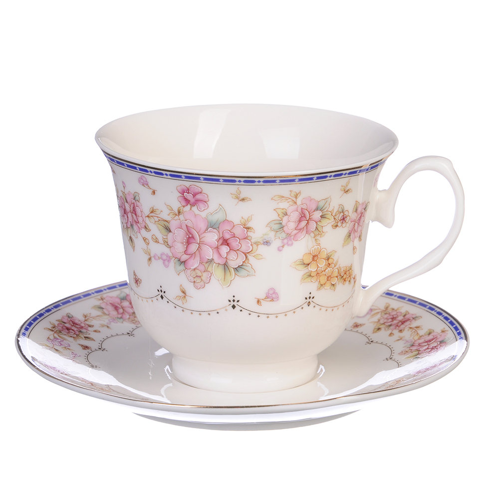 "Чайный сервиз 4 предмета, костяной фарфор, 250 мл, MILLIMI ""Флер"""
