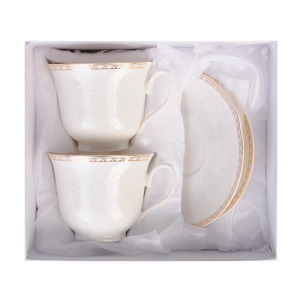 """Чайный сервиз 4 предмета, костяной фарфор, 250 мл, MILLIMI """"Анжелика"""""""
