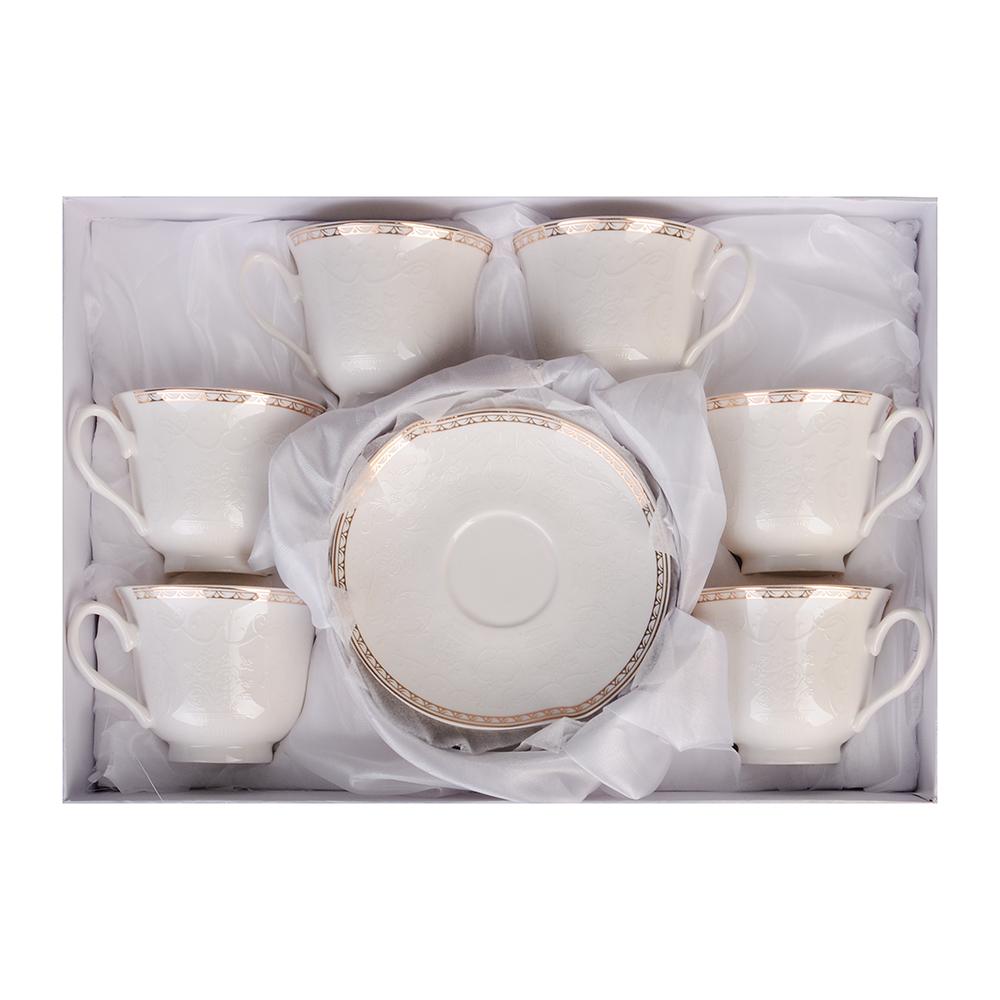 """Чайный сервиз 12 предметов, костяной фарфор, 250 мл, MILLIMI """"Анжелика"""""""