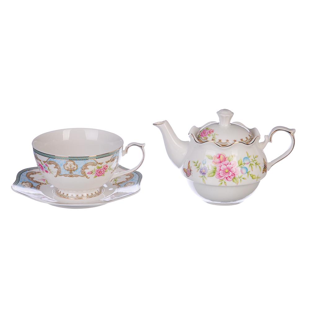 "Чайный набор, костяной фарфор, чайник 450 мл, чашка 320 мл, блюдце 16 см, MILLIMI ""Эгоист"""