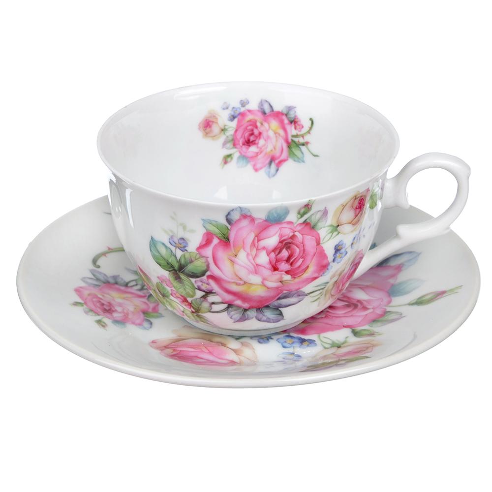 """Чайный сервиз 2 предмета, тонкий фарфор, 260 мл, MILLIMI """"Роза"""""""
