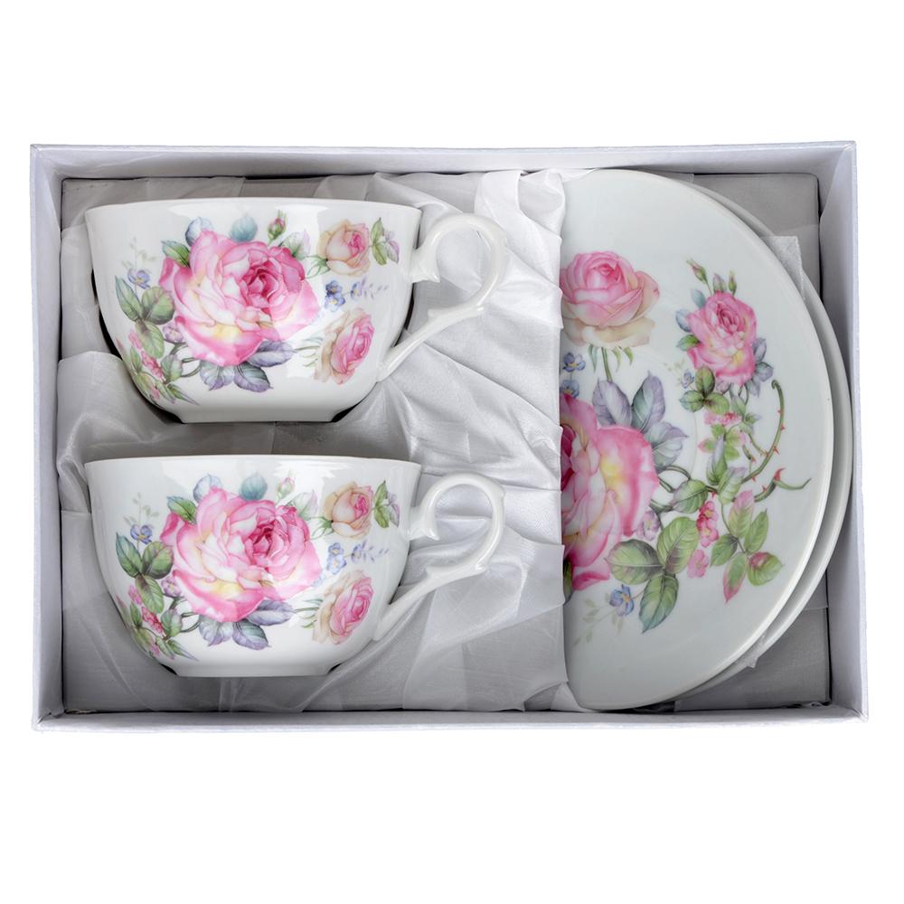 """Чайный сервиз 4 предмета, тонкий фарфор, 260 мл, MILLIMI """"Роза"""""""