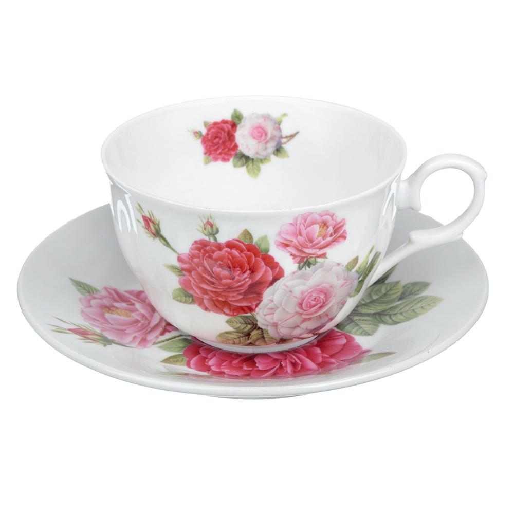 """Чайный сервиз 2 предмета, тонкий фарфор, 260 мл, MILLIMI """"Шиповник"""""""