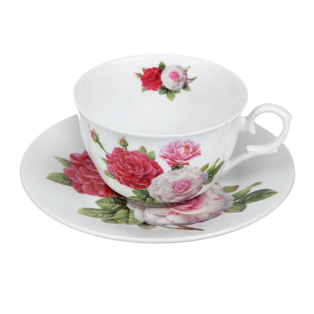 """Чайный сервиз 12 предметов, тонкий фарфор, 260 мл, MILLIMI """"Шиповник"""""""