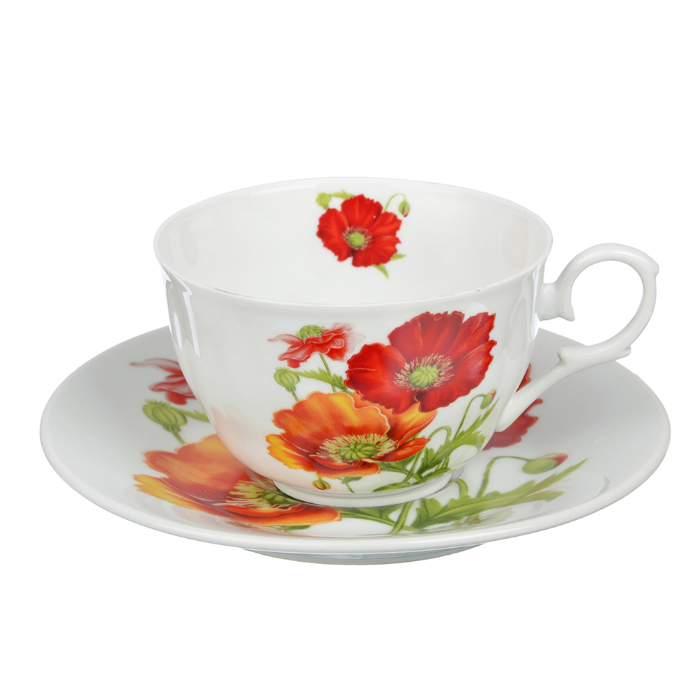 "Чайный сервиз 2 предмета, тонкий фарфор, 260 мл, MILLIMI ""Маки"""