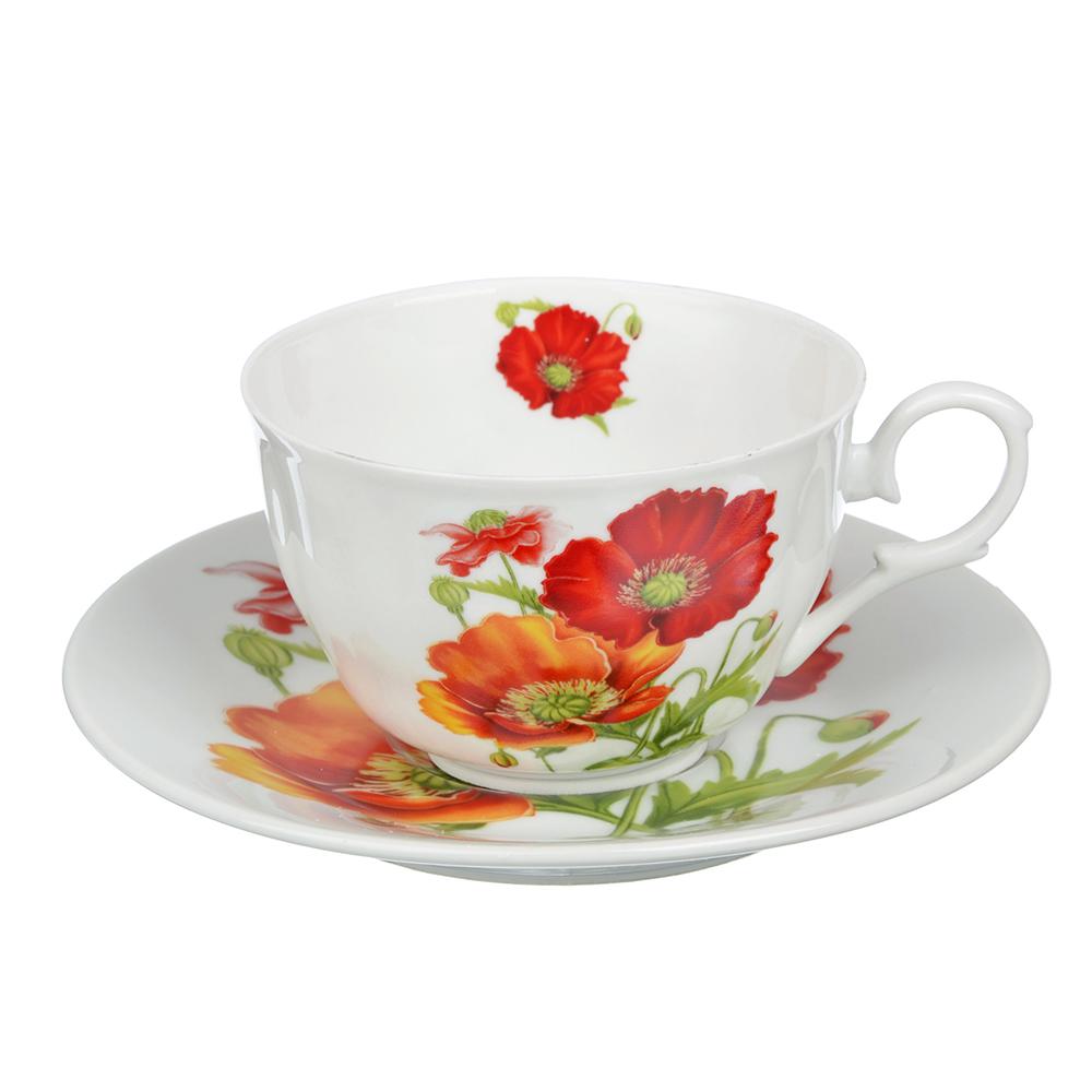 "Чайный сервиз 4 предмета, тонкий фарфор, 260 мл, MILLIMI ""Маки"""