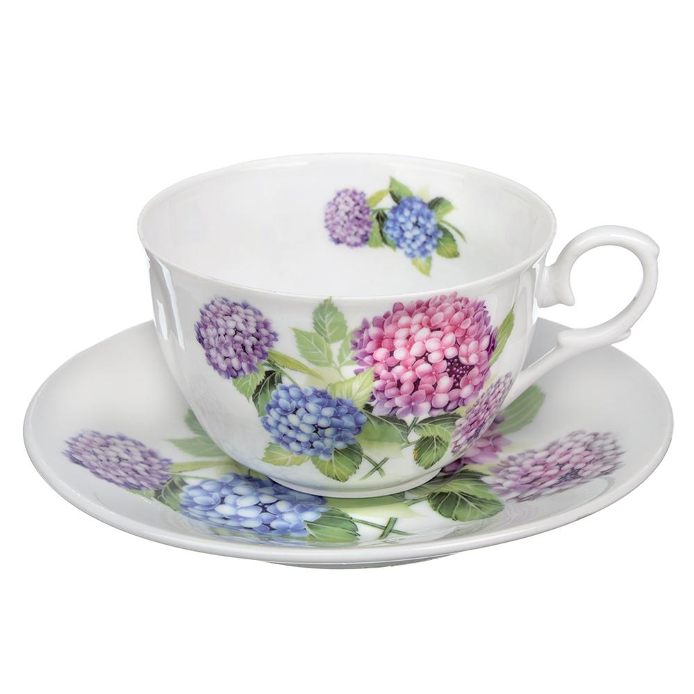 """Чайный сервиз 2 предметов, тонкий фарфор, 260 мл, MILLIMI """"Гортензия"""""""