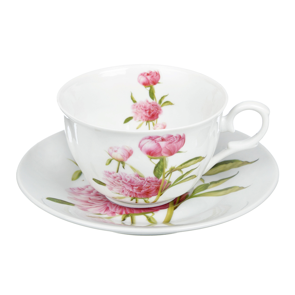 "Чайный сервиз 2 предмета, тонкий фарфор, 260 мл, MILLIMI ""Пионы"""