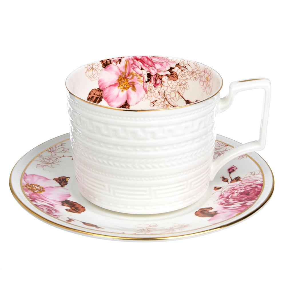 """Чайный сервиз 2 предмета, костяной фарфор, 290 мл, MILLIMI """"Роскошь"""""""
