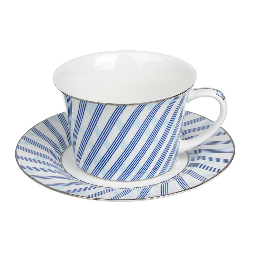 """Чайный сервиз 2 предмета, костяной фарфор, 270 мл, MILLIMI """"Лазурит"""""""
