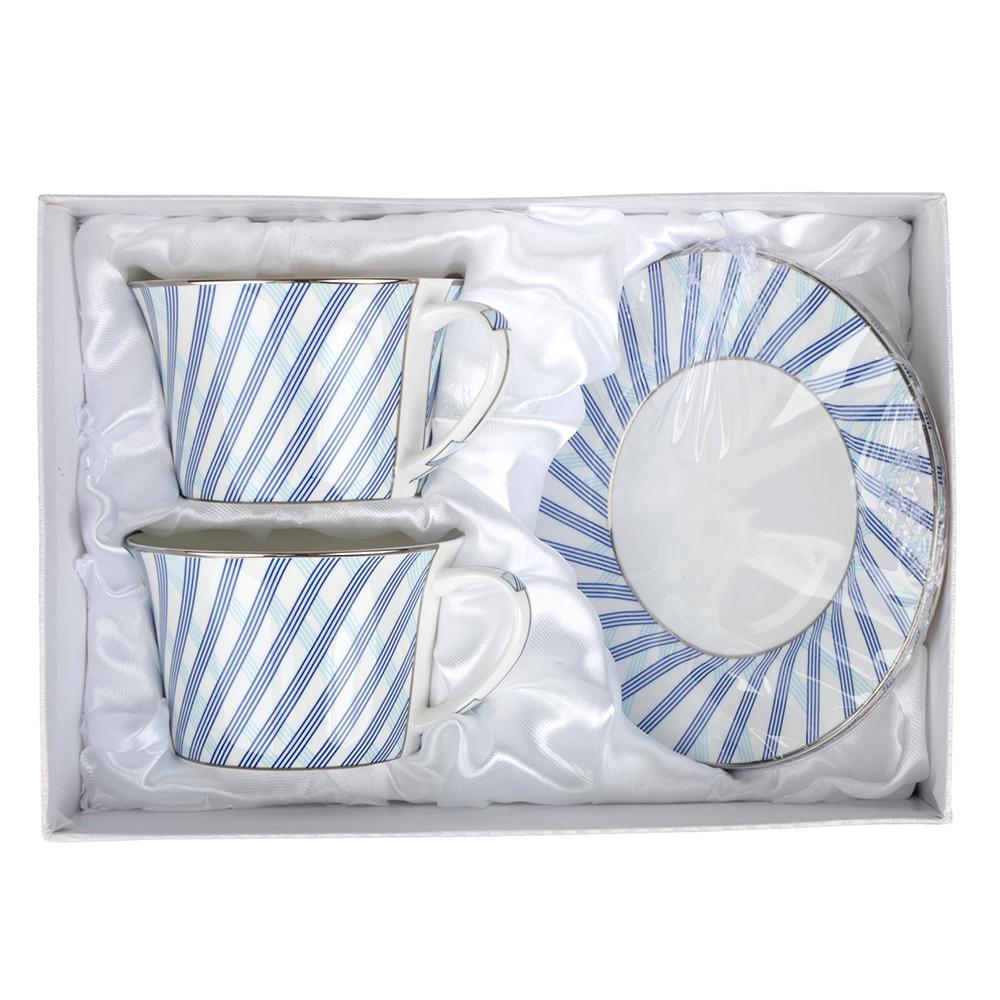 """Чайный сервиз 4 предмета, костяной фарфор, 270 мл, MILLIMI """"Лазурит"""""""