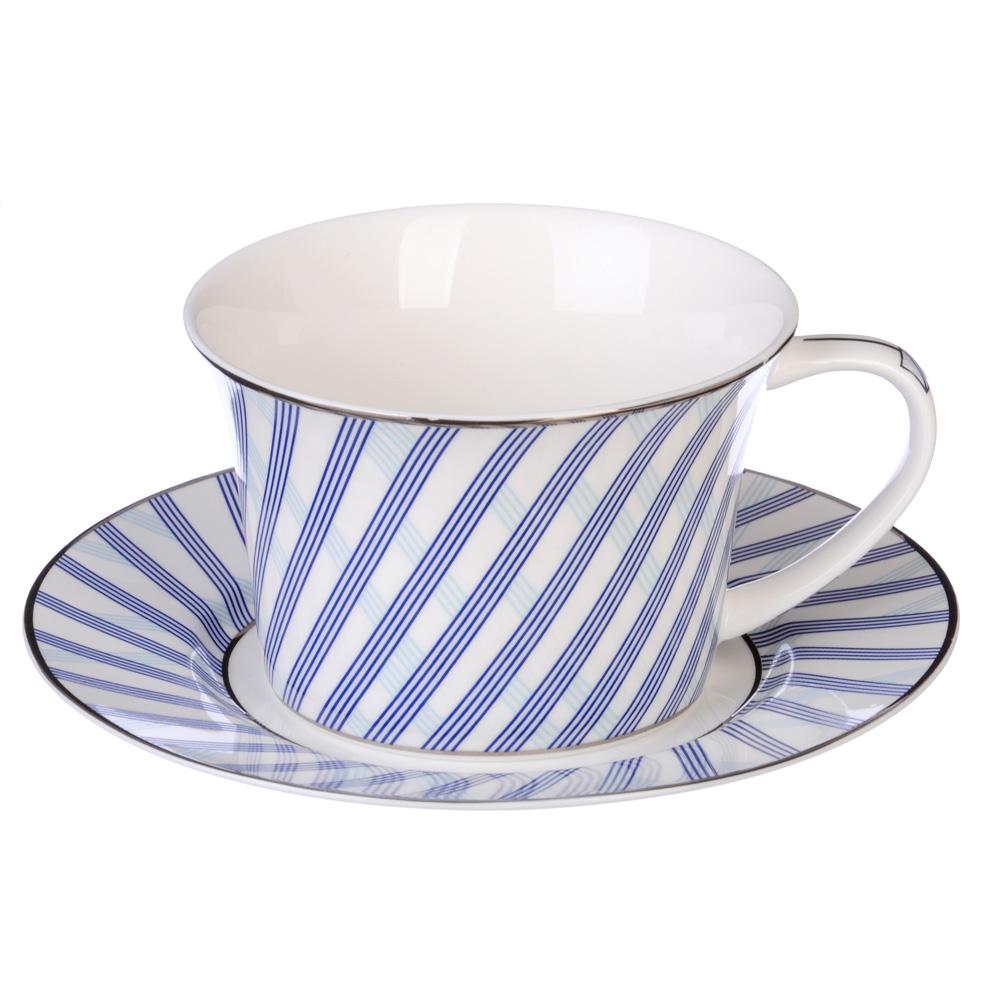 """Чайный сервиз 12 предметов, костяной фарфор, 270 мл, MILLIMI """"Лазурит"""""""