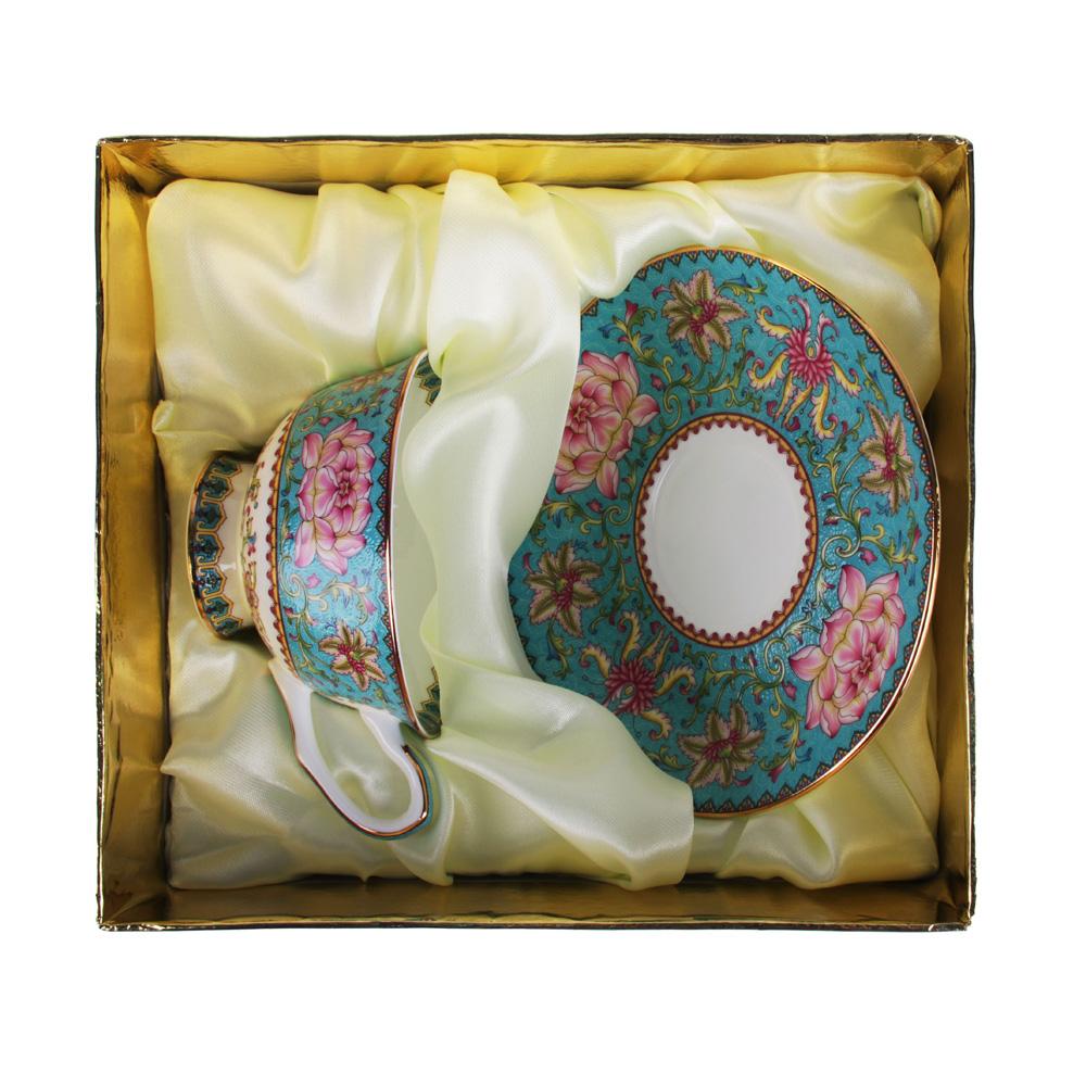 """Чайный сервиз 2 предмета, костяной фарфор, 240 мл, подарочная упаковка, MILLIMI """"Арабеска бирюза"""""""