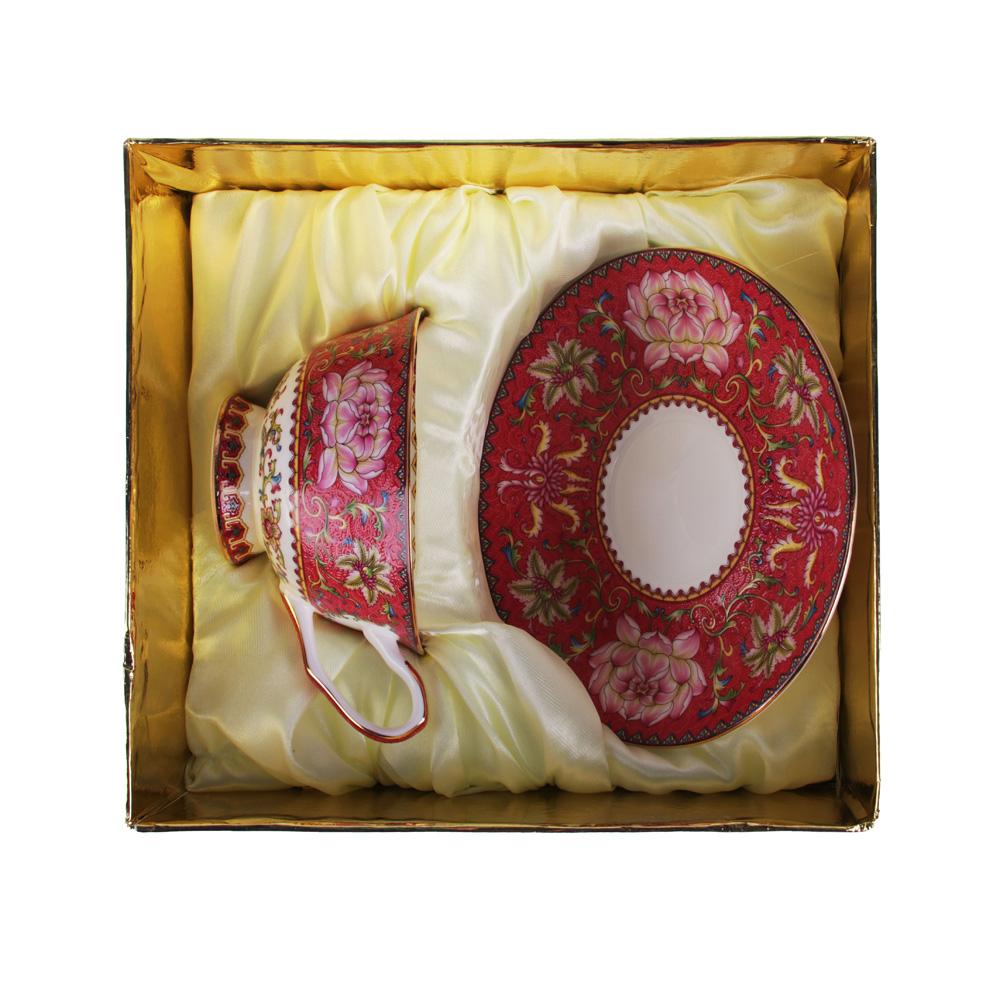 """Чайный сервиз 2 предмета, костяной фарфор, 240 мл, подарочная упаковка, MILLIMI """"Арабеска коралл"""""""