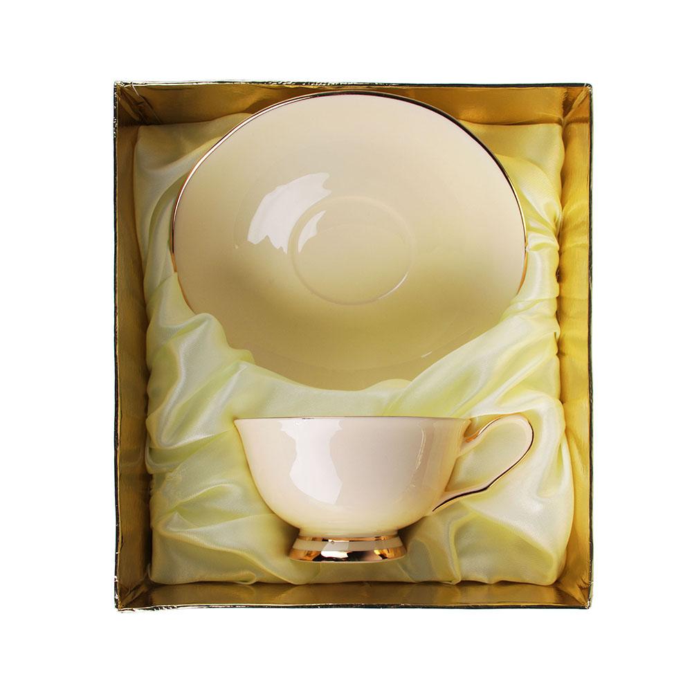 """Набор чайный 2 шт., 240мл, подарочная упаковка, костяной фарфор, MILLIMI """"Сливочный крем"""""""