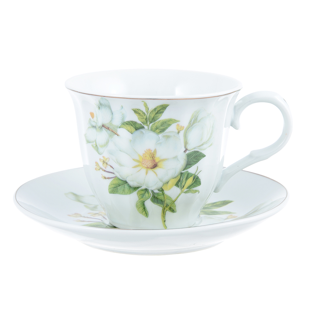 """Чайный сервиз 2 предмета, фарфор, 220 мл, """"Белая роза"""""""