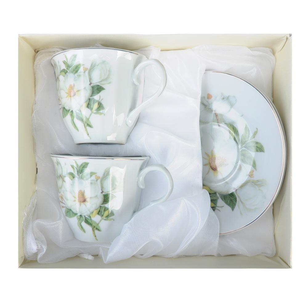 """Чайный сервиз 4 предмета, фарфор, 220 мл, """"Белая роза"""""""