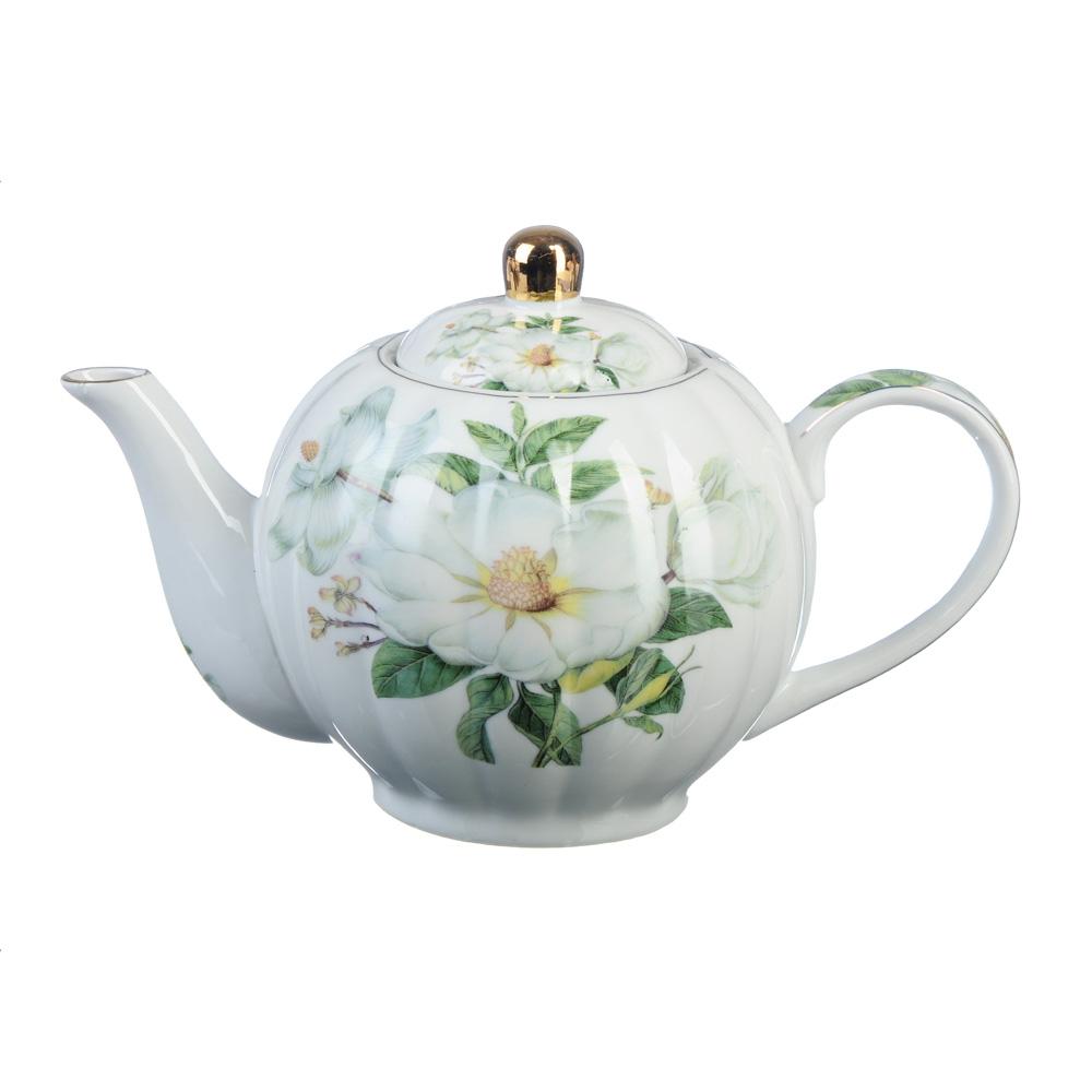 """Чайник заварочный фарфоровый, 1000 мл, """"Белая роза"""""""