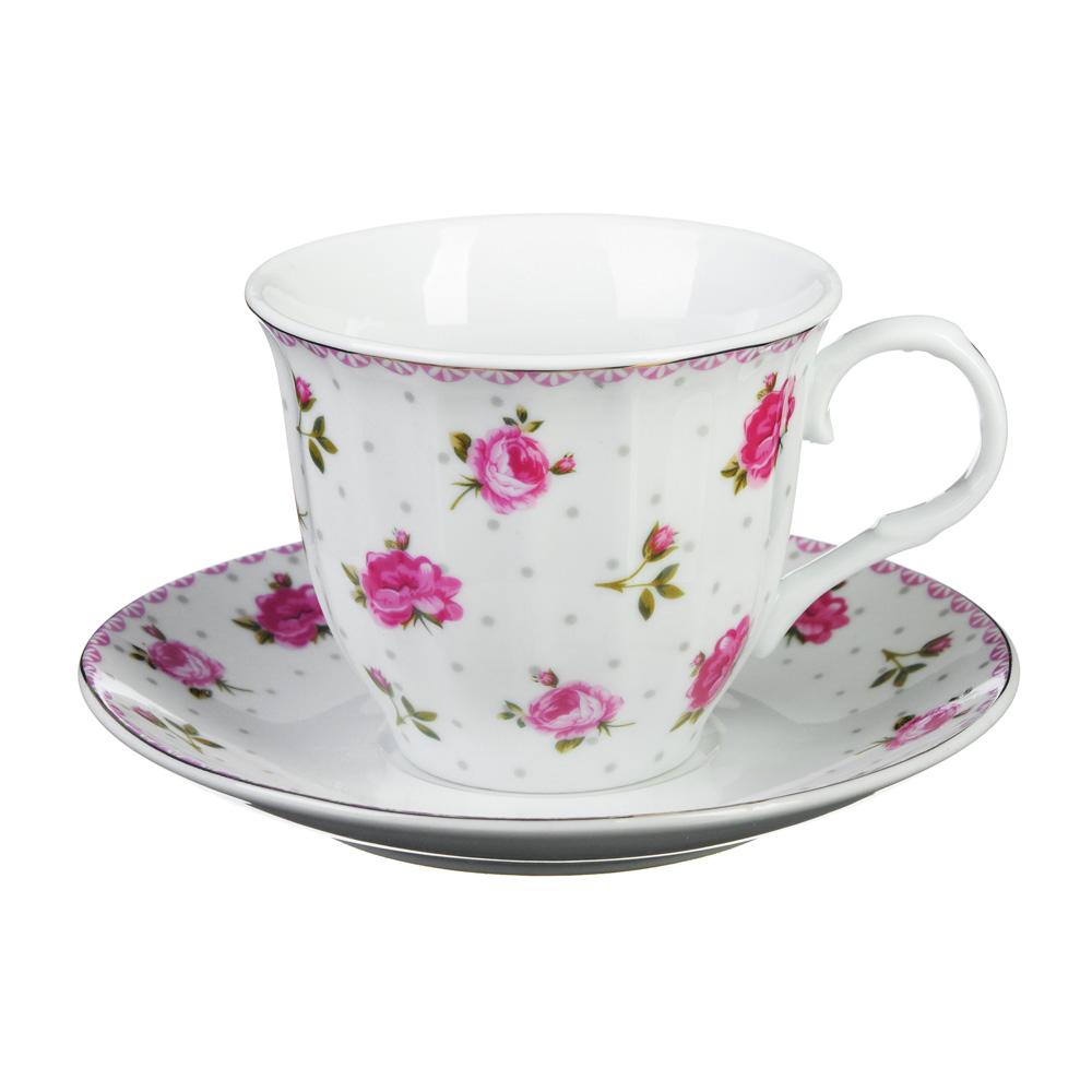 "Чайный сервиз 2 предмета, фарфор, 220 мл, ""Розочка"""