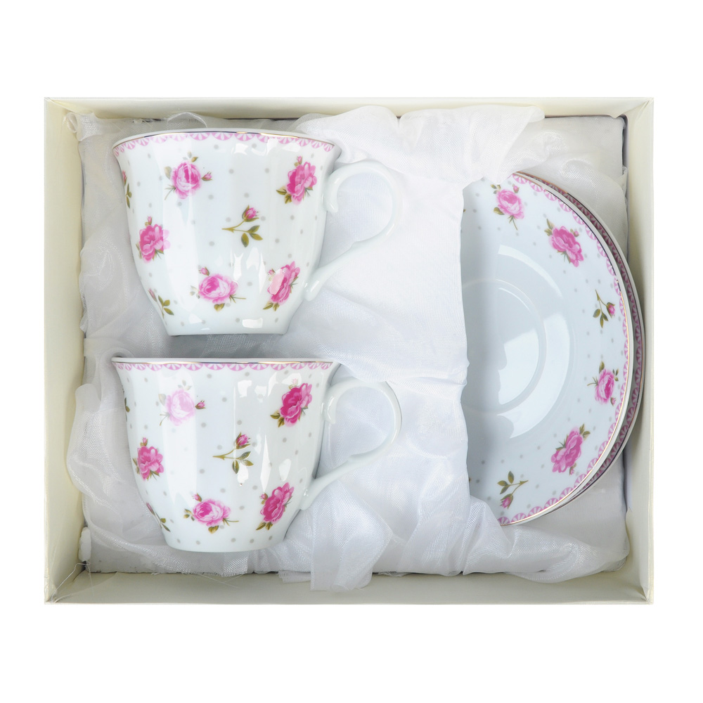 "Чайный сервиз 4 предмета, фарфор, 220 мл, ""Розочка"""