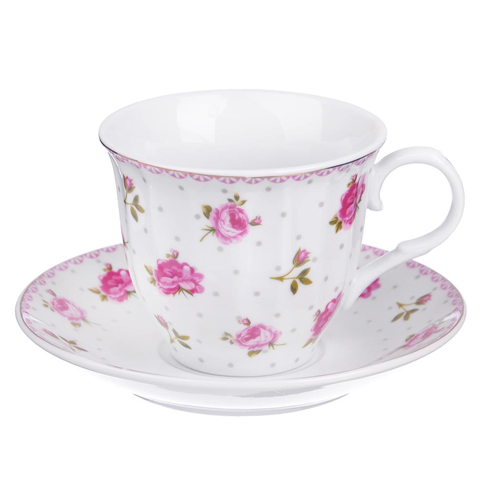 "Чайный сервиз 12 предмета, фарфор, 220 мл, ""Розочка"""