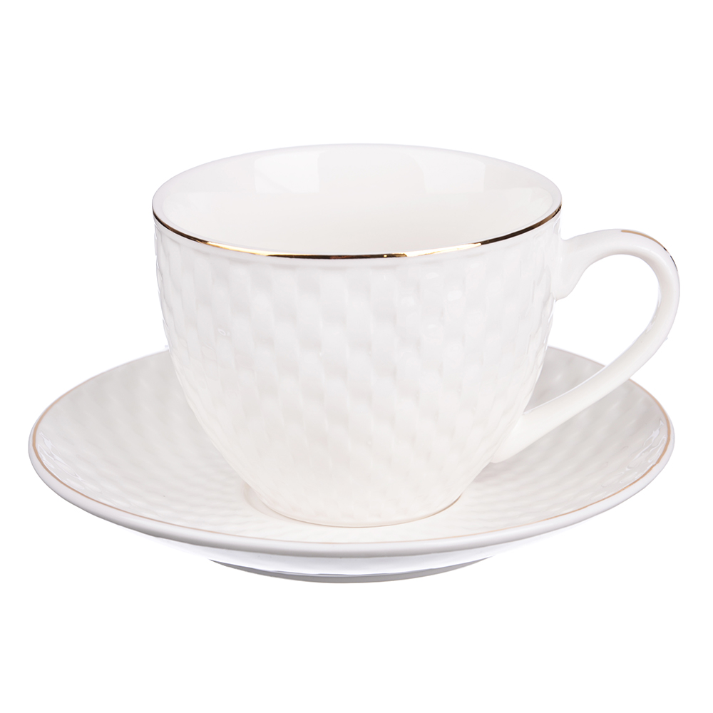 """Чайный сервиз 2 предмета, костяной фарфор, 240 мл, рельеф, MILLIMI """"Романс"""""""