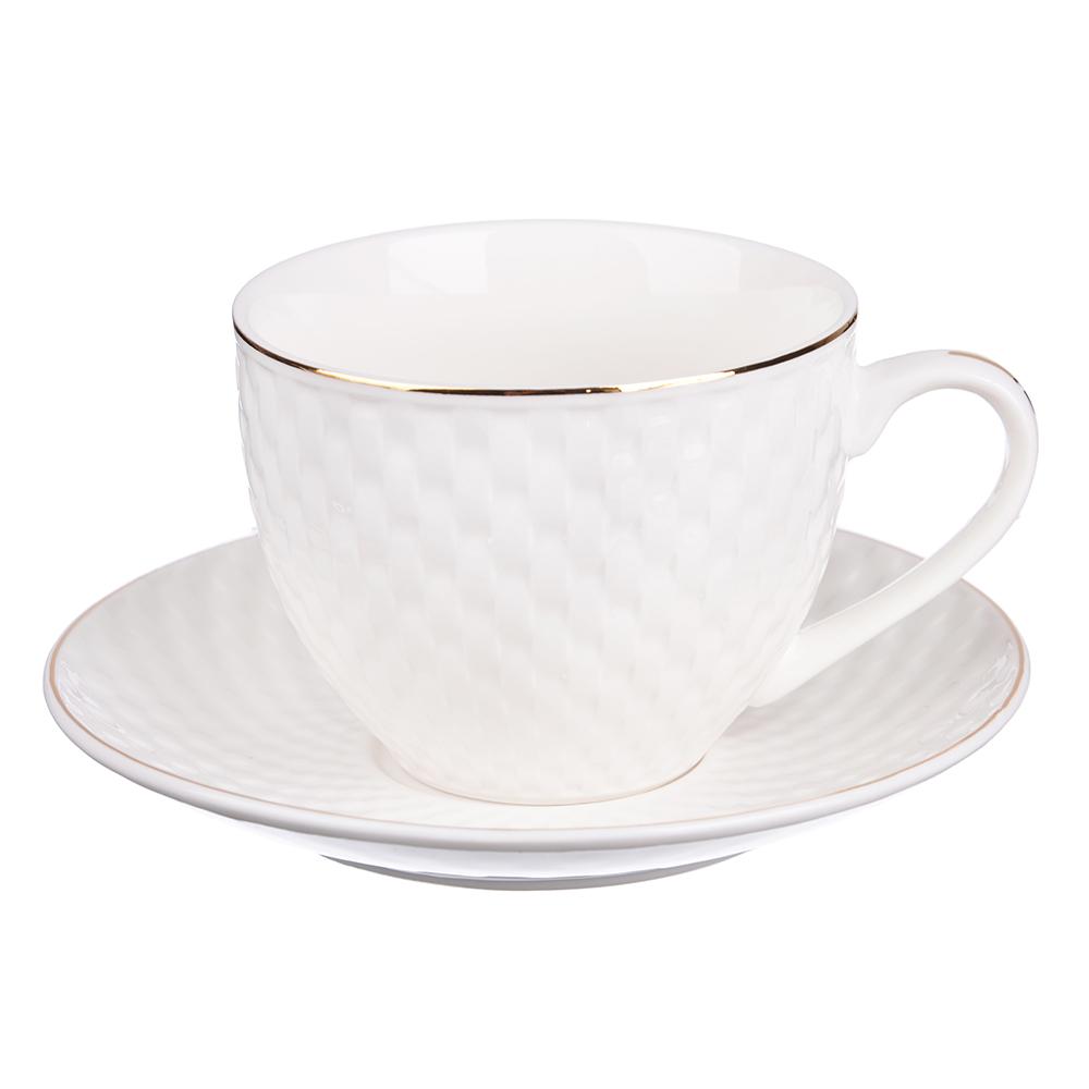 """Чайный сервиз 4 предмета, костяной фарфор, 240 мл, рельеф, MILLIMI """"Романс"""""""