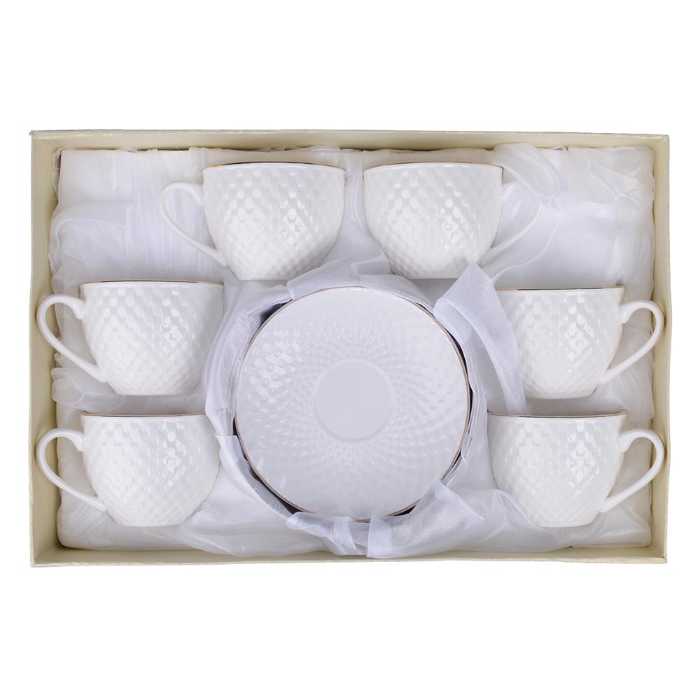 """Чайный сервиз 12 предметов, костяной фарфор, 240 мл, рельеф, MILLIMI """"Романс"""""""