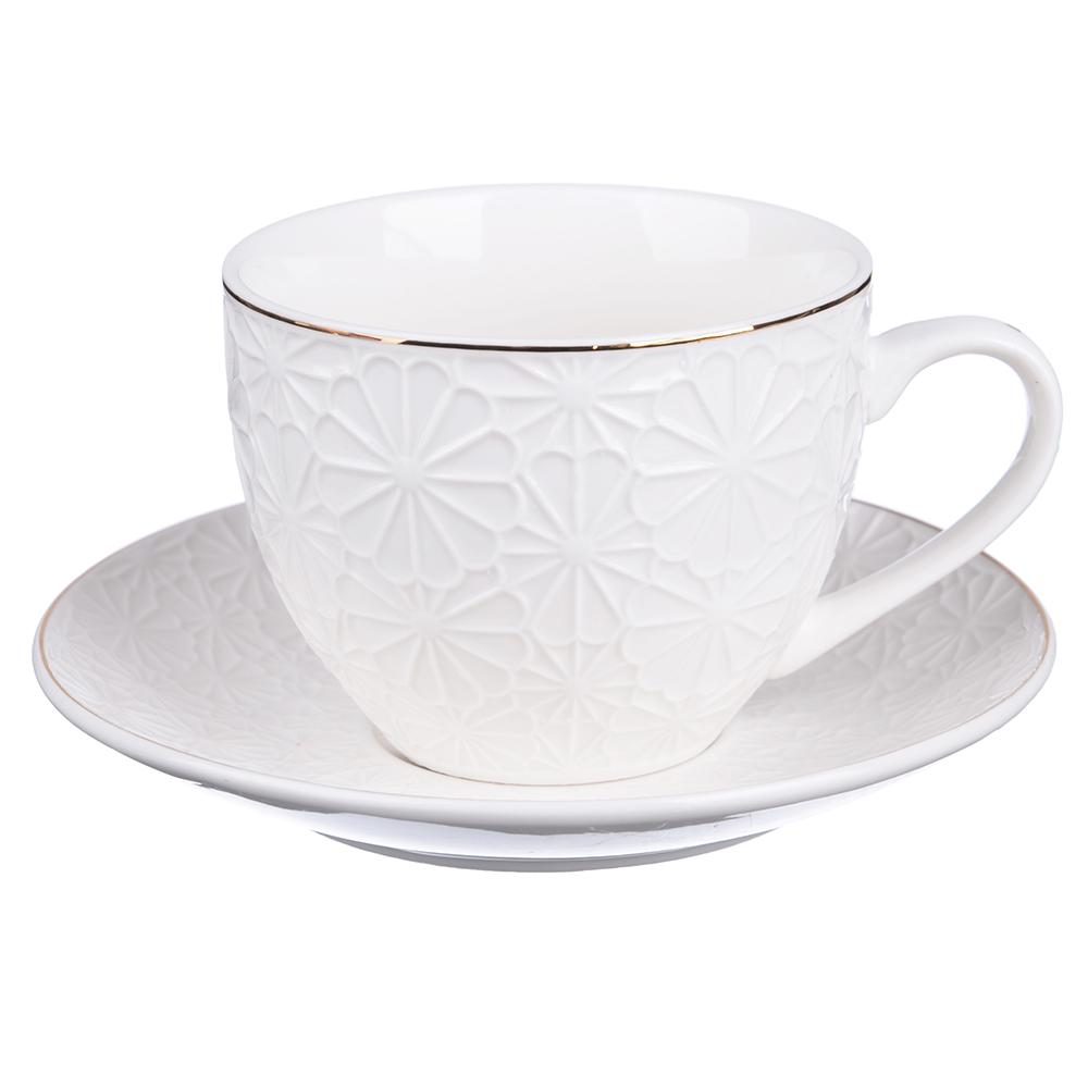 """Чайный сервиз 4 предмета, костяной фарфор, 240 мл, рельеф, MILLIMI """"Ромашка"""""""