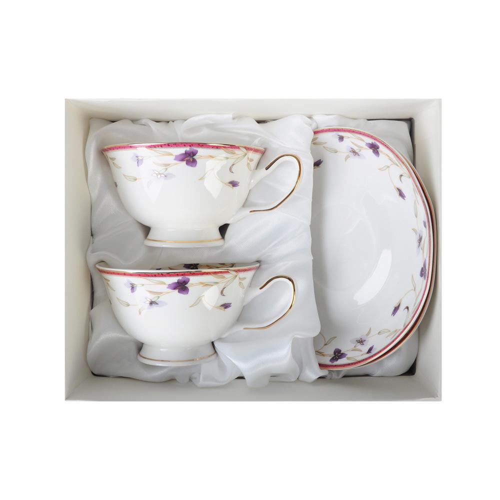 """Чайный сервиз 4 предмета, костяной фарфор, 220 мл, MILLIMI """"Батист"""""""