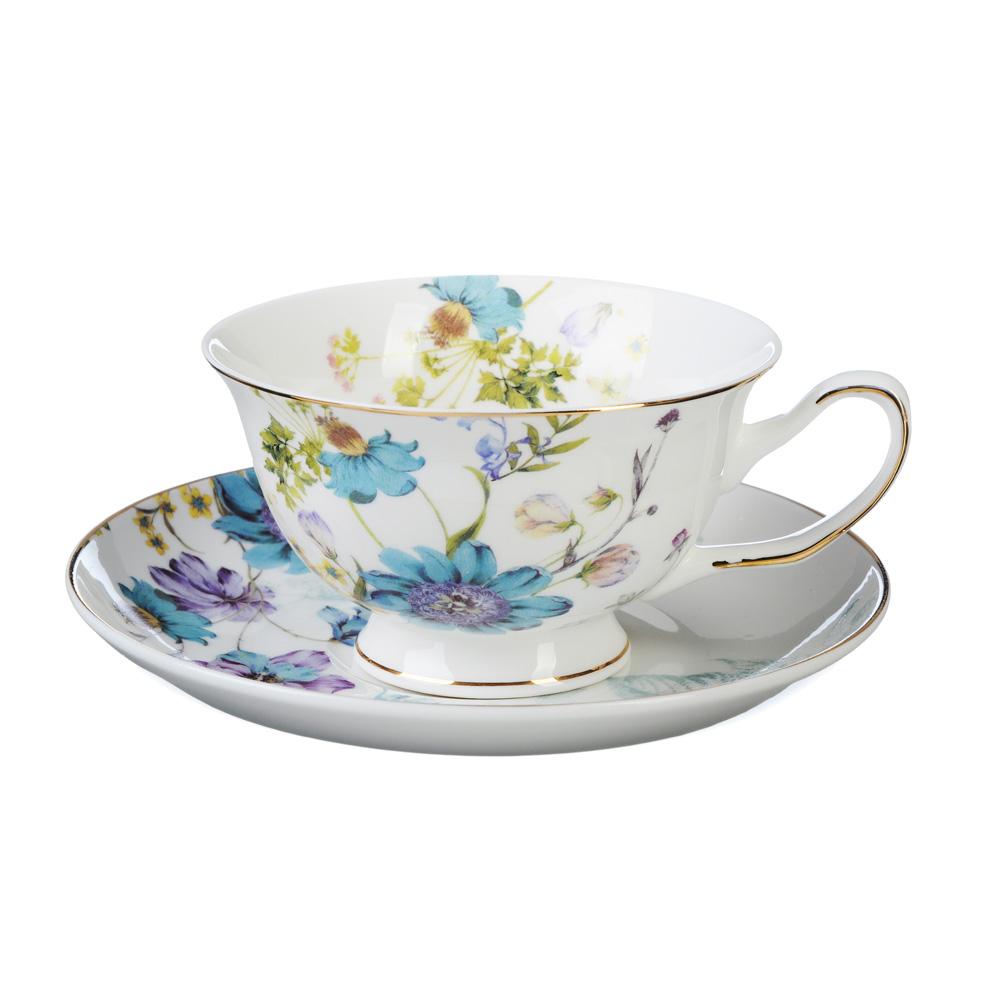 """Чайный сервиз 4 предмета, костяной фарфор, 220 мл, MILLIMI """"Летний сон"""""""