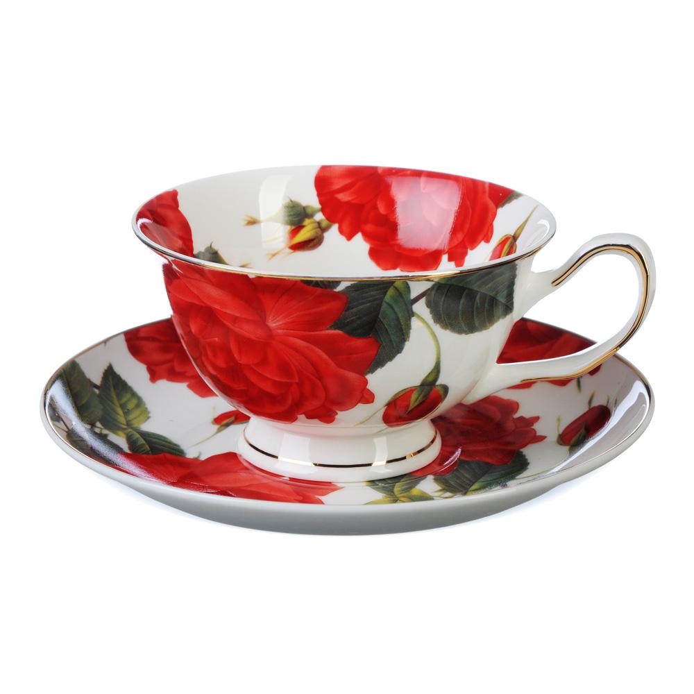 """Чайный сервиз 2 предмета, костяной фарфор, 220 мл, MILLIMI """"Пышная роза"""""""