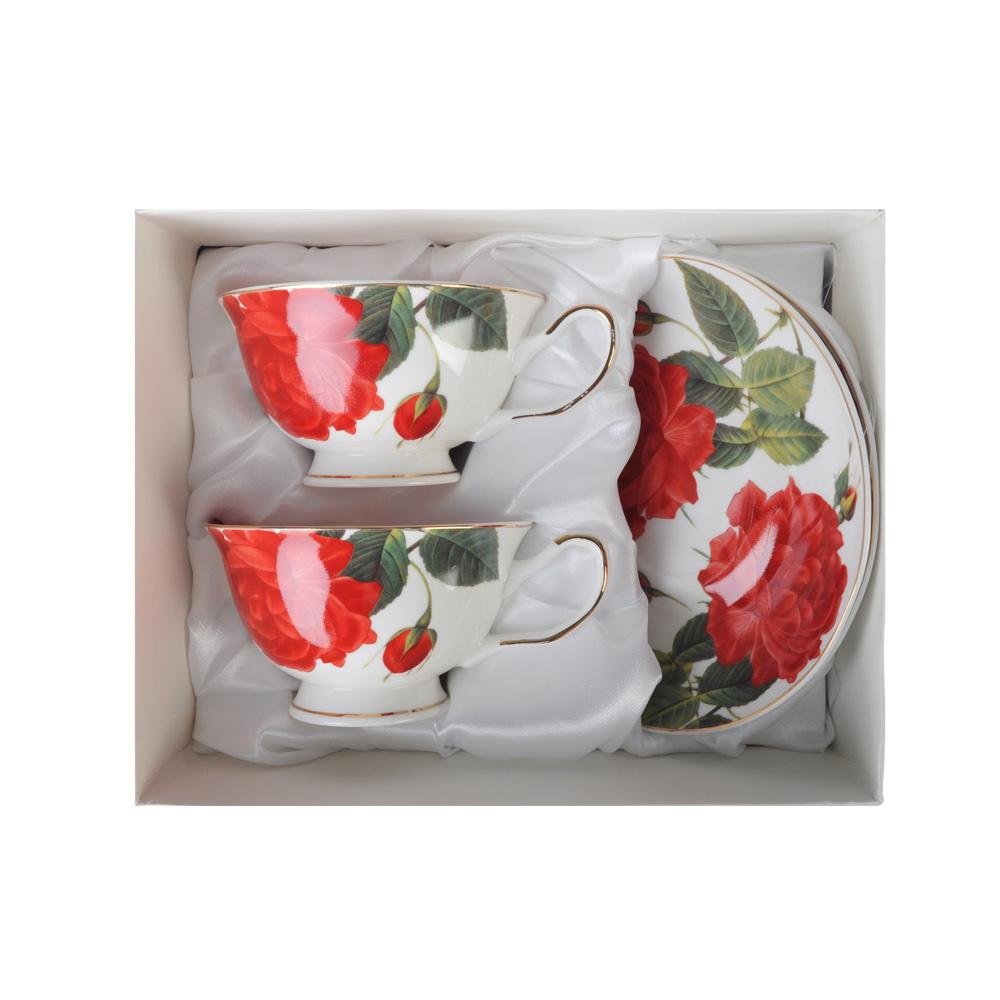"""Чайный сервиз 4 предмета, костяной фарфор, 220 мл, MILLIMI """"Пышная роза"""""""