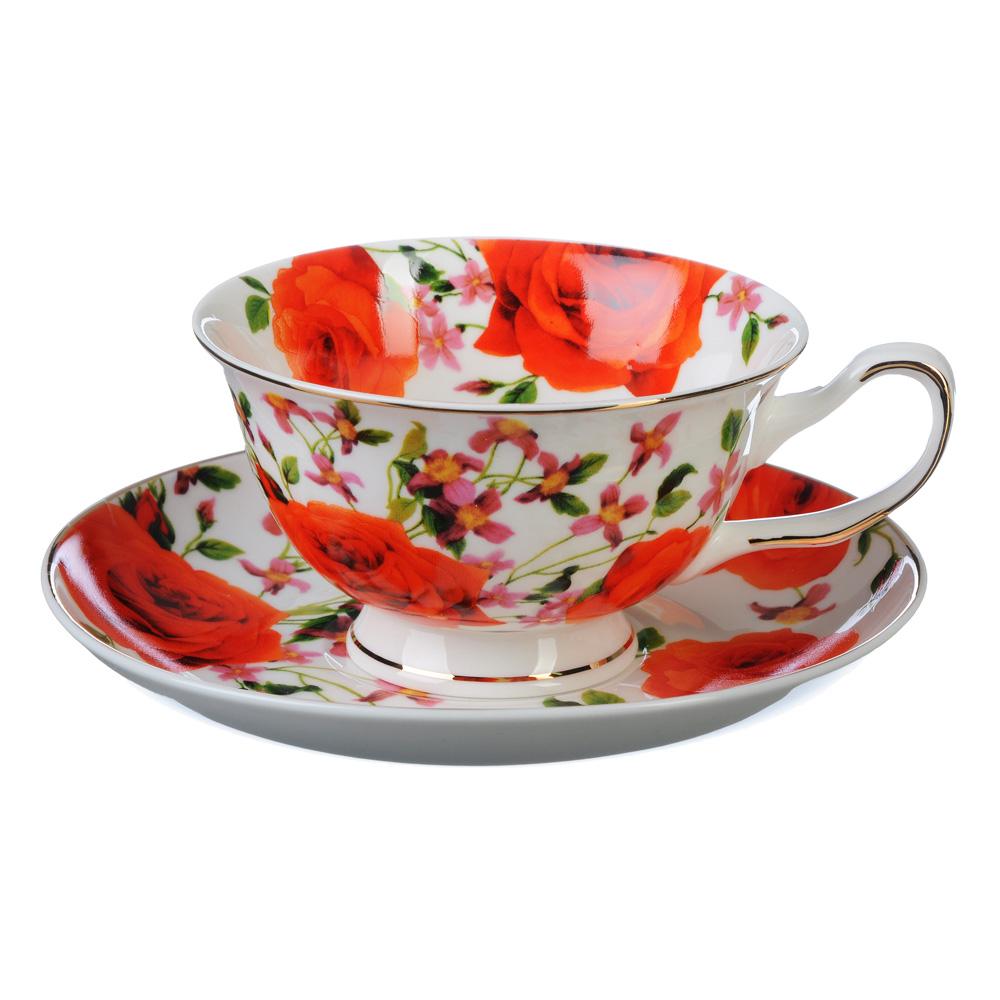 """Чайный сервиз 4 предмета, костяной фарфор, 220 мл, MILLIMI """"Душистый сад"""""""