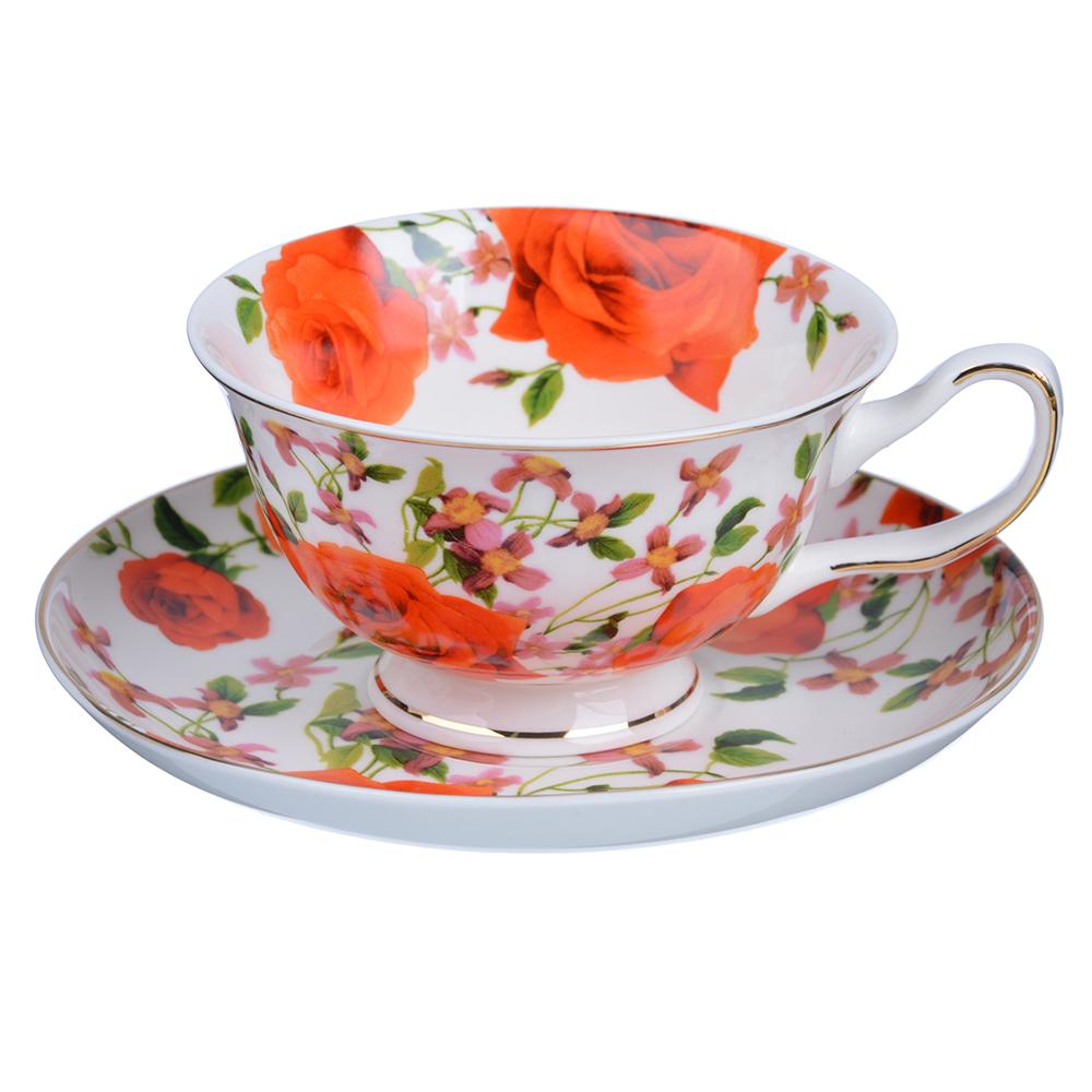 """Чайный сервиз 12 предметов, костяной фарфор, 220 мл, MILLIMI """"Душистый сад"""""""