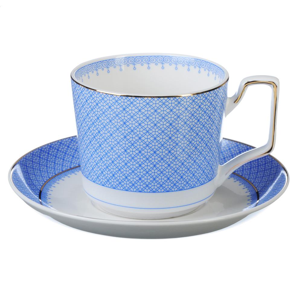 """Чайный сервиз 2 предмета, костяной фарфор, 260 мл, 2 цвета, MILLIMI """"Мария"""""""