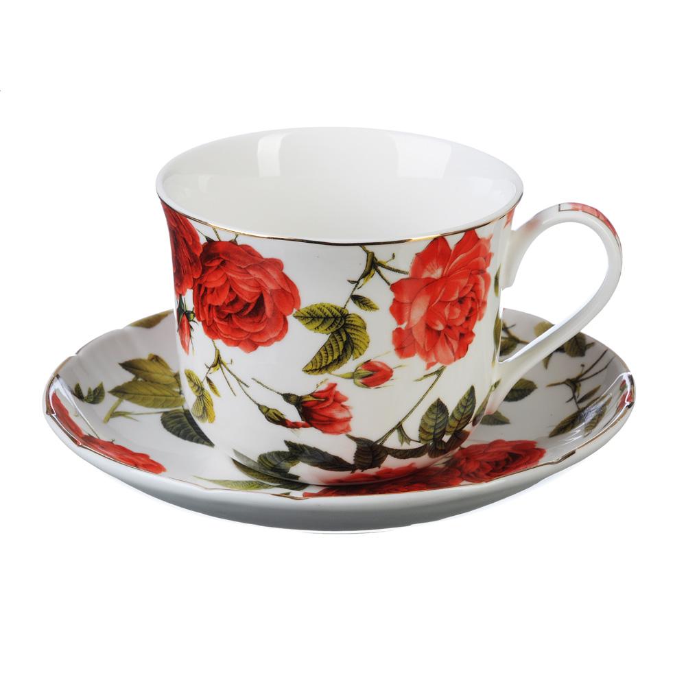 """Чайный сервиз 2 предмета, костяной фарфор, 430 мл, MILLIMI """"Купчиха"""""""