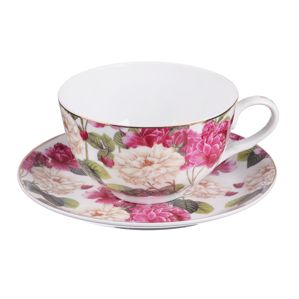 """Чайный сервиз 2 предмета, тонкий фарфор, 330 мл, MILLIMI """"Роскошный сад"""""""