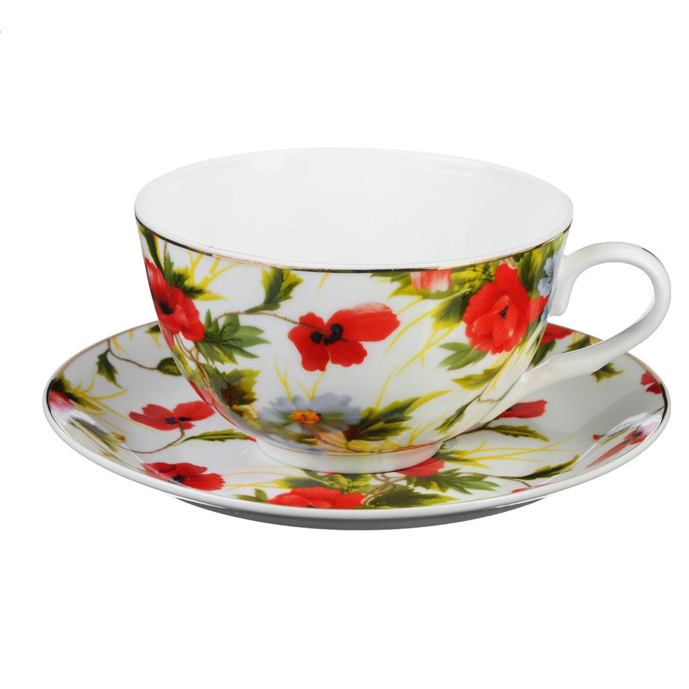 """Чайный сервиз 2 предмета, тонкий фарфор, 330 мл, MILLIMI """"Полянка"""""""