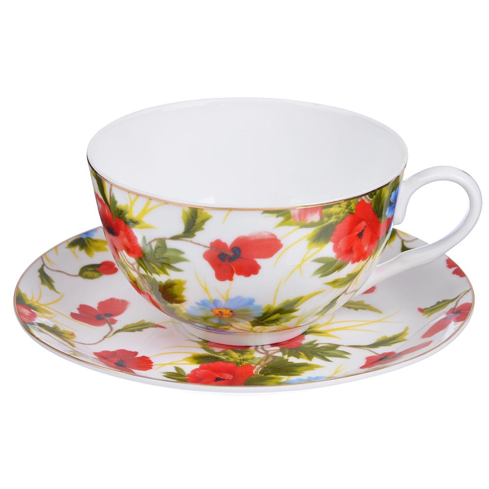 """Чайный сервиз 12 предметов, тонкий фарфор, 330 мл, MILLIMI """"Полянка"""""""