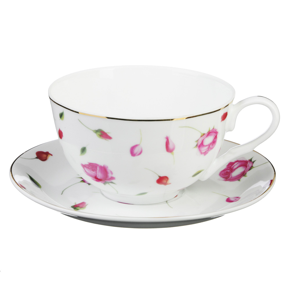 "Чайный сервиз 2 предмета, тонкий фарфор, 330 мл, MILLIMI ""Любимый цветок"""