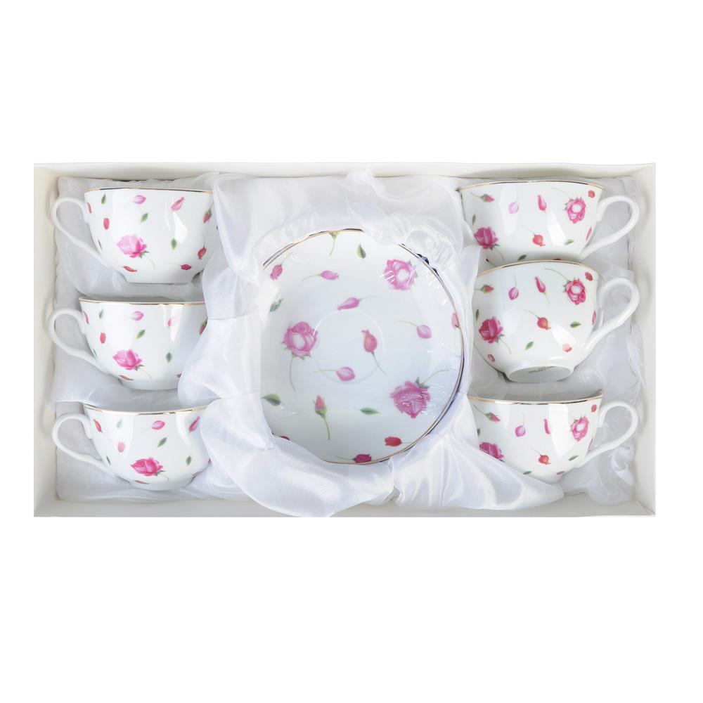 """Чайный сервиз 12 предметов, тонкий фарфор, 330 мл, MILLIMI """"Любимый цветок"""""""