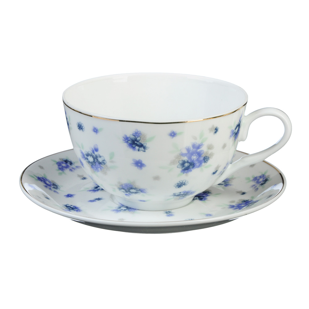 "Чайный сервиз 2 предмета, тонкий фарфор, 330 мл, MILLIMI ""Незабудка"""
