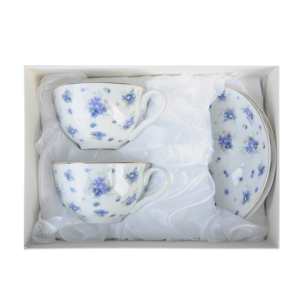 "Чайный сервиз 4 предмета, тонкий фарфор, 330 мл, MILLIMI ""Незабудка"""
